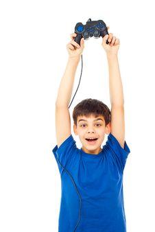 Happy Boy With A Joystick Stock Image