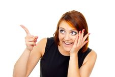 Free Beautiful Red-haired Girl Points A Finger Royalty Free Stock Photo - 27401105