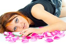 Free Beautiful Girl Lying In Rose Petals Stock Photography - 27401672