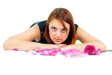 Free Beautiful Girl With Rose Petals Stock Photos - 27401713