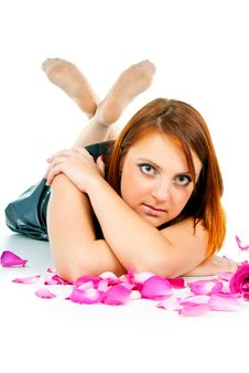Free Portrait Of Girl With Petals Of Roses Royalty Free Stock Photography - 27401767
