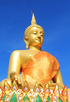 A Big Buddha Statue With A Blue Sky Stock Photography
