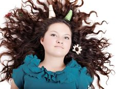 Free Glamorous Portrait Of A Girl With Curly Horns Stock Photo - 27404610