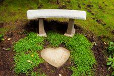 Heart Stone Bench Royalty Free Stock Photo