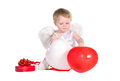 Free Boy Dressed As Angel With White And Red Balloons Stock Photo - 27413630