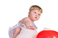 Free Boy Dressed As Angel With White And Red Balloons Stock Images - 27413644