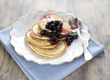 Free Pancakes With Black Currant Jam Royalty Free Stock Image - 27410386