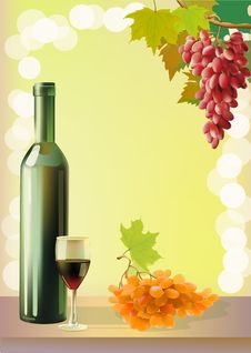 Free Ripe Grapes, Wine Glass And Bottle Wine . Royalty Free Stock Photography - 27410797