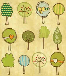 Free Funny Trees Seamless Pattern Stock Images - 27411814