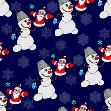 Seamless Background With A Snowman. Stock Image