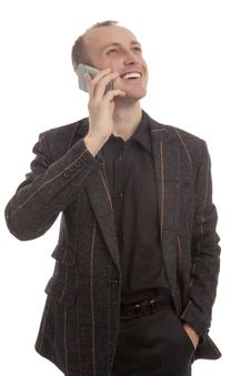 Portrait Of A Male Speaking On Phone Stock Photography