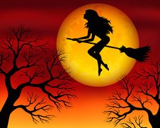 Free Witch On A Broomstick Royalty Free Stock Photo - 27418335