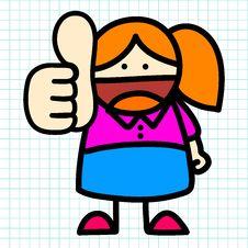 Business Woman Hand Draw Cartoon. Royalty Free Stock Photos