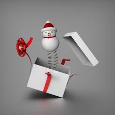 Free Snowman Mimics Jack In The Box Royalty Free Stock Photos - 27432328