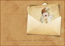 Vintage Christmas Greeting Card With Envelope Stock Photo