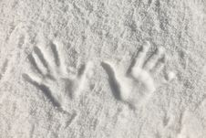 Free Snow Hand Prints Stock Images - 27437604