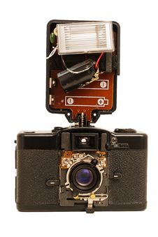 Russian Old Broken Film Camera And Flash Stock Images