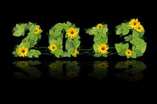 Free New Year 2013. Date Lined Green Leaves And Flower. Royalty Free Stock Image - 27439566