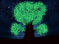 Free Fantasy Night Tree Of Green Color Royalty Free Stock Images - 27440909