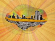 Abstract Floating Island With City Royalty Free Stock Image