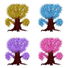 Free Fantasy Trees Of Different Colors Stock Photography - 27440982
