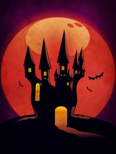 Halloween Castle Grunge Background Royalty Free Stock Photography