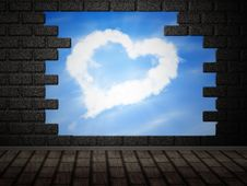 Heart Of Clouds In Hole In Brick Wall Stock Photography
