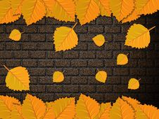 Free Leaves And Brick Wall Royalty Free Stock Images - 27441369