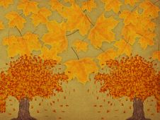 Paper With Autumn Trees Stock Photos