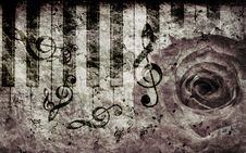 Free Vintage Background With Rose And Notes Stock Images - 27441654