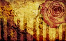 Free Vintage Background With Rose And Notes Stock Photo - 27441700