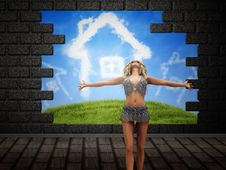 Free Girl Posing Over Broken Brick Wall Stock Photos - 27441823