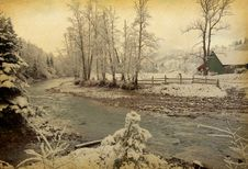 Winter Landscape In The Carpathians Mountains. Royalty Free Stock Photography