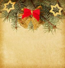 Free Old Paper  With Christmas Border. Royalty Free Stock Images - 27446089