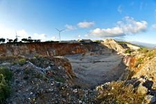 Free Wind Energy Park In A Quarry Stock Photos - 27448153