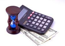 Money, Calculator, Hourglass , Finance Stock Image