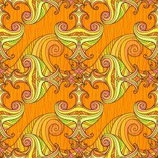 Free Orange Seamless Abstract Hand-drawn Pattern Stock Image - 27448531