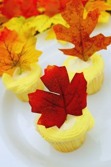 Lemon Cupcake With Maple Leaf Decoration Royalty Free Stock Photos