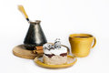 Free Tasty Dessert On The Round Plate With Cup Of Coffe Stock Images - 27451074