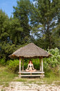 Free Woman Doing Yoga Meditation In Tropical Gazebo Stock Photos - 27453783