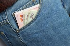 Money In Blue Jeans Royalty Free Stock Photography