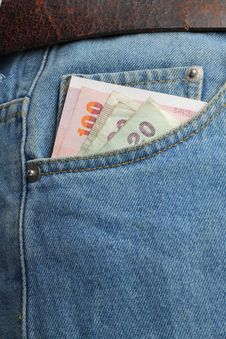 Money In Blue Jeans Royalty Free Stock Image