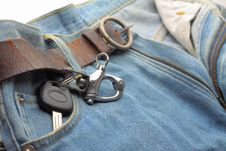Free Car Key Ring And Blue Jeans Stock Photo - 27451590