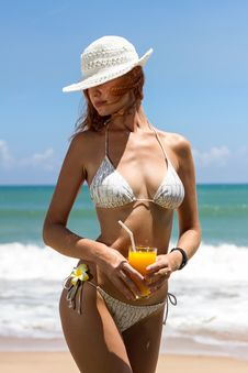 Young Woman In Bikini With Cocktail Royalty Free Stock Image