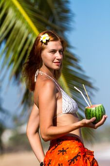 Young Woman In Bikini With Cocktail Stock Photos
