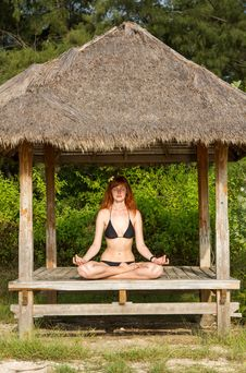 Free Woman Doing Yoga Meditation In Tropical Gazebo Stock Image - 27453761