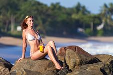 Free Young Woman In Bikini With Cocktail Stock Image - 27454101