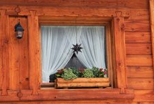 Mountain Chalet Window Detail Stock Images