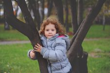 Free Little Curly Girls The Park Stock Images - 27461514