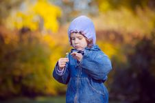 Free Little Curly Girl In Autumn Park Royalty Free Stock Image - 27461586